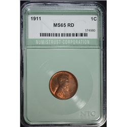 1911 LINCOLN CENT, NTC GEM BU RED