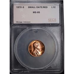 1970-S SMALL DATE LINCOLN CENT, SEGS GEM BU RED