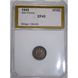 1845 SEATED HALF DIME, PCI EF/AU