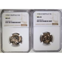 2-1938-D BUFFALO NICKELS, NGC-MS65