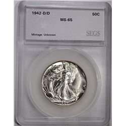 1942-D/D WALKING LIBERTY HALF DOLLAR, SEGS GEM BU