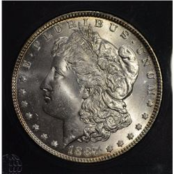 1887 MORGAN DOLLAR, GEM BU BLAST WHITE