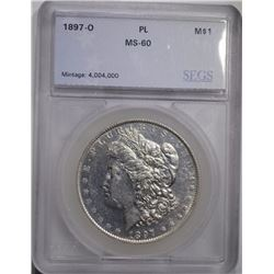 1897-O MORGAN DOLLAR, SEGS UNC PROOF-LIKE RARE