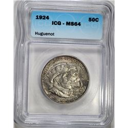 1924  HUGUENOT COMMEMORATIVE HALF DOLLAR