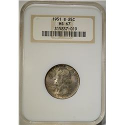 1951-S WASHINGTON QUARTER NGC MS 67