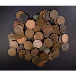 100 MIXED DATE CIRC INDIAN HEAD CENTS