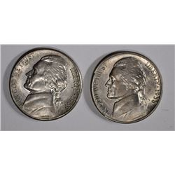 1938-S & 1939-S JEFFERSON NICKELS, CH BU