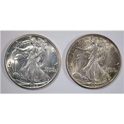 1942 & 1945 WALKING LIBERTY HALF DOLLARS, GEM BU