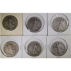 6-EARLY WALKING LIBERTY HALVES