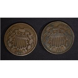 1864 VG & 1868 VF+ 2-CENT PIECES
