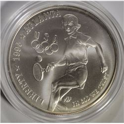 1996 TENNIS COMMEM SILVER DOLLAR, GEM BU