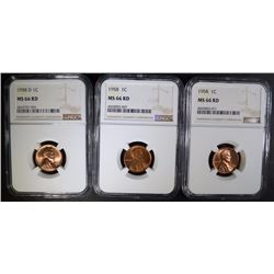 1958, 1958, 1958-D LINCOLN CENTS NGC MS66 RD