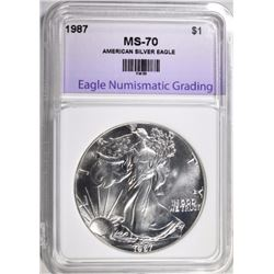 1987 AMERICAN SILVER EAGLE, ENG PERFECT GEM BU