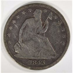 1843-O SEATED HALF DOLLAR VG