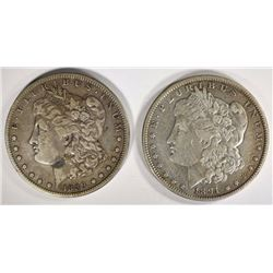1889-O MORGAN DOLLAR XF & 1891 MORGAN XF