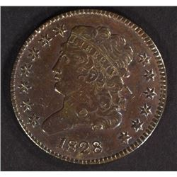 1828 HALF CENT VF CLEANED