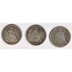 1856 F, 1887-S VF, 1843 F SEATED DIMES