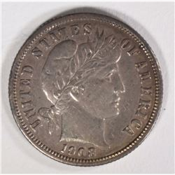 """1908-D BARBER DIME REPUNCHED """" 1 """" AU"""