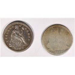 1837 SEATED DIME AG/G, KEY DATE &