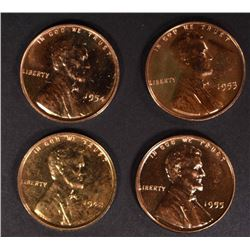 1942, 1953, 1954, 1955 PROOF LINCOLN CENTS