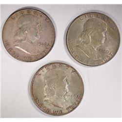 3 - AU+ FRANKLIN HALF DOLLARS; 1949-D