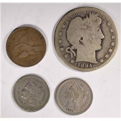 COLLECTOR LOT; 1857 FLYING EAGLE VG/F,