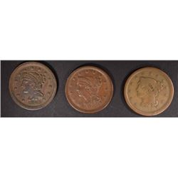 1849 VF, 1851 VF & 1854 F LARGE CENTS
