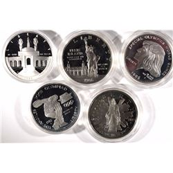 5 Silver Commemorative Proof Silver Dollars