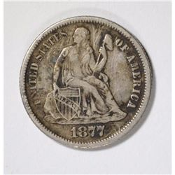 1877-CC SEATED DIME XF SCRATCHES OBV