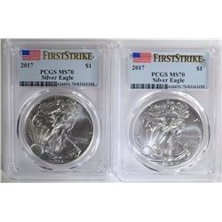 2 - 2017 PCGS MS70 AMERICAN SILVER EAGLES