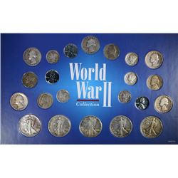 WWII BIG COLLECTION - 22 COINS MOSTLY SILVER