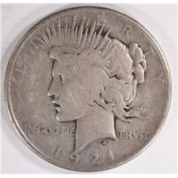 1921 PEACE DOLLAR, VF