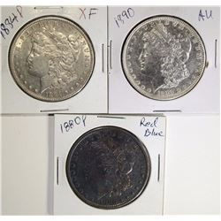 3 - MORGAN DOLLARS: 1880 TONED RED & BLUE AU,