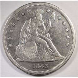 1843 SEATED LIBERTY DOLLAR AU