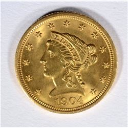 1904 $2.5 GOLD LIBERTY GEM BU