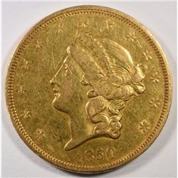 1850 $20 GOLD LIBERTY AU MINOR RIM BUMPS