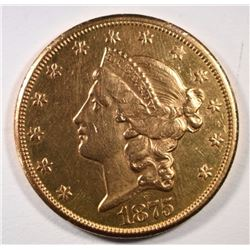 1875-CC $20 GOLD LIBERTY BU CLEANED