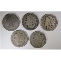 5 LOW GRADE MORGAN DOLLARS SOME PROBLEMS