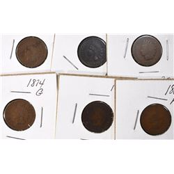 INDIAN CENT LOT; 1867, 1868, 1870, 1874, 1875 AG;