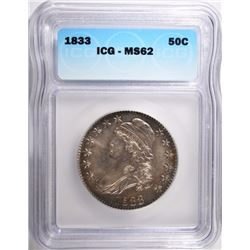 1833 CAPPED BUST HALF DOLLAR ICG MS62