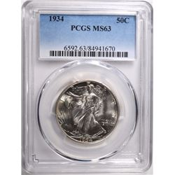 1934 WALKING LIBERTY HALF $ PCGS MS63