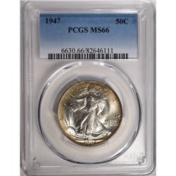 1947 WALKING LIBERTY HALF $ PCGS MS66