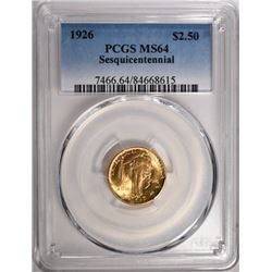1926 $2.50 GOLD SESQUI PCGS MS64