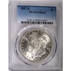 1887-S MORGAN DOLLAR PCGS MS63