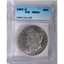 1887/6 MORGAN DOLLAR VAM-2 TOP 100 ICG MS62
