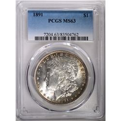 1891 MORGAN DOLLAR PCGS MS63