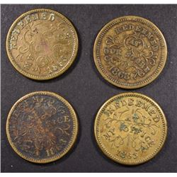 4-CIVIL WAR TOKENS FROM TROY N.Y.