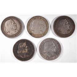 1-1892 & 4 1893 COLUMBIAN EXPO COMMEM HALF DOLLARS
