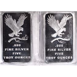 2 FIVE OUNCE .999 SILVER BARS