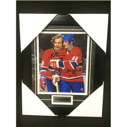 "GUY LAFLEUR & STEVE SHUTT DUAL SIGNED 12"" X 14"" FRAMED PHOTO W/ BOSSA COA"